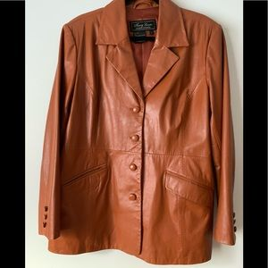 Terry Lewis rich orange leather jacket, si…